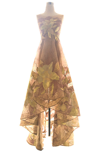 Buy: Sebastian Gunawan - Floral Gown with Folds