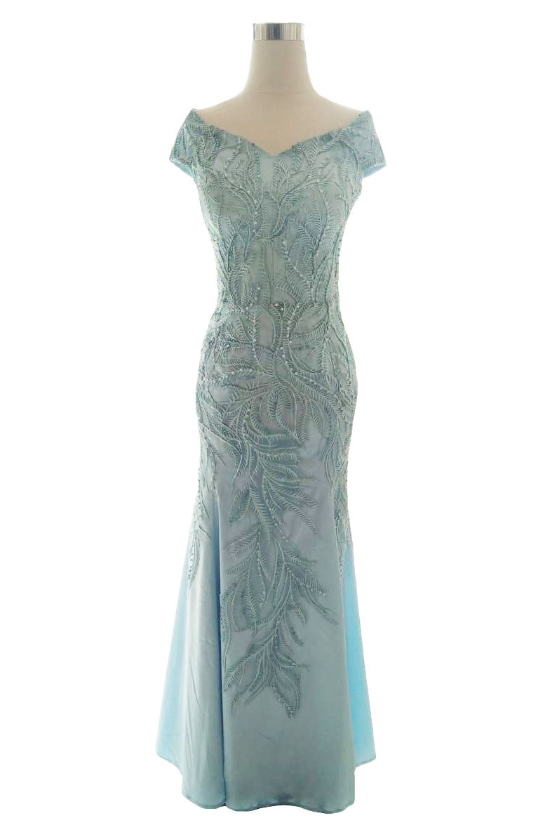Rent : Wearbi Riana Blue Sabrina Embroidery Gown