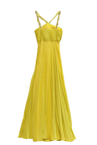 Sale: Wilbert Wuriel Yellow Chiffon Long Dress