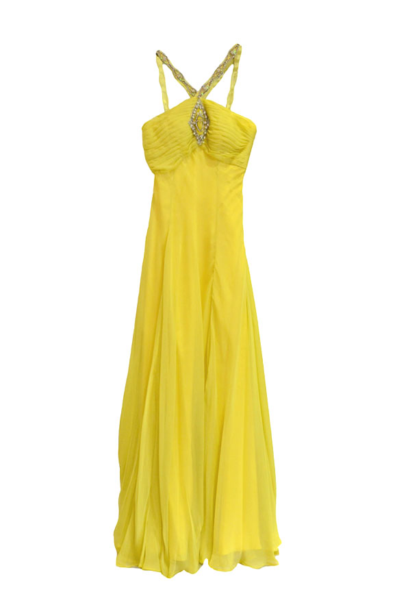 Rent:  Wilbert Wuriel Yellow Chiffon Long Dress