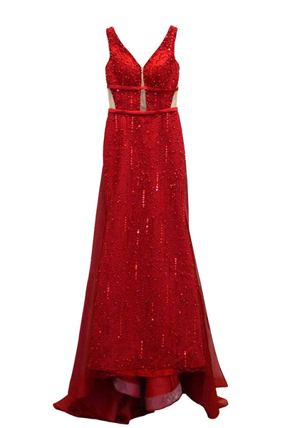 Rent: Winda Halomoan Red Deep V-Neck Fully Beaded Gown with Train