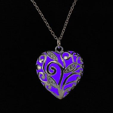 Glow In The Dark Heart Locket (Purple)