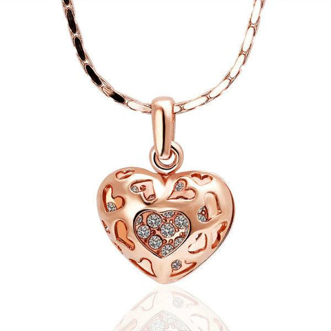 Rose Gold Hollow 3D Pendant Necklace