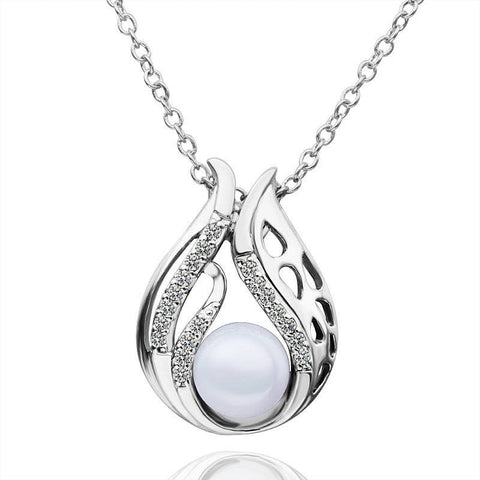 Pearl Water Drop- Silver (Platinum Plated) Pendant Necklace