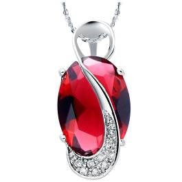 Red Rhinestone/Cubic Silver Pendant Necklace