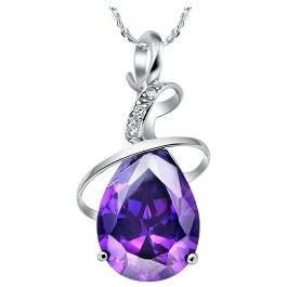 Purple Crystal / Cubic Silver Pendant Necklace