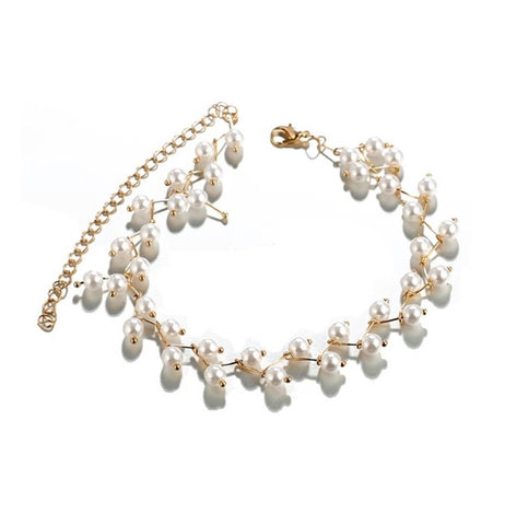 Leaf Design Pearl Choker Collar