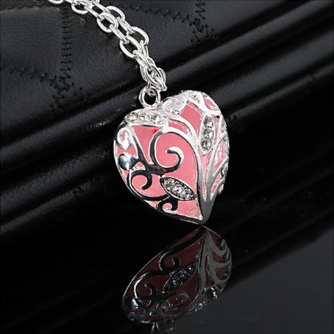 Glow In The Dark Heart Locket Charm Bracelet - Pink