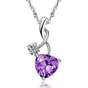 Purple Heart and Cubic Zirconia Silver Pendant Necklace