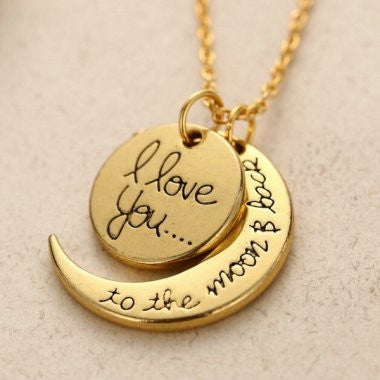 I Love You (Gold)  - Moon/Back Necklace