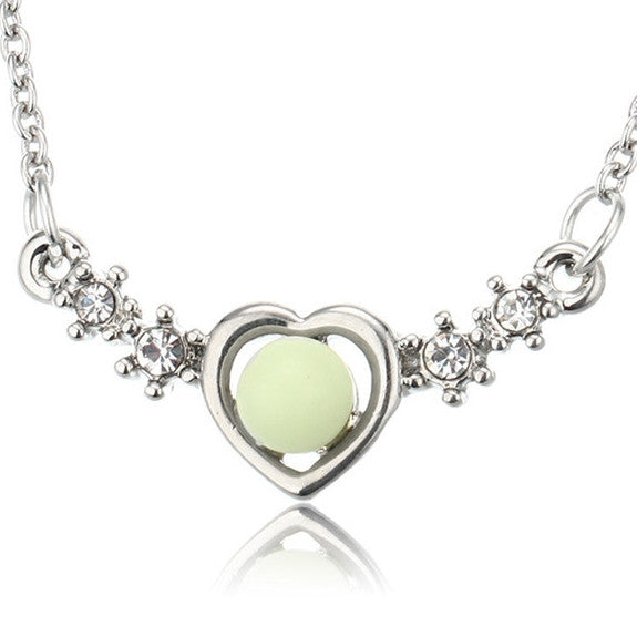 Glow in the Dark Heart Cubic Necklace