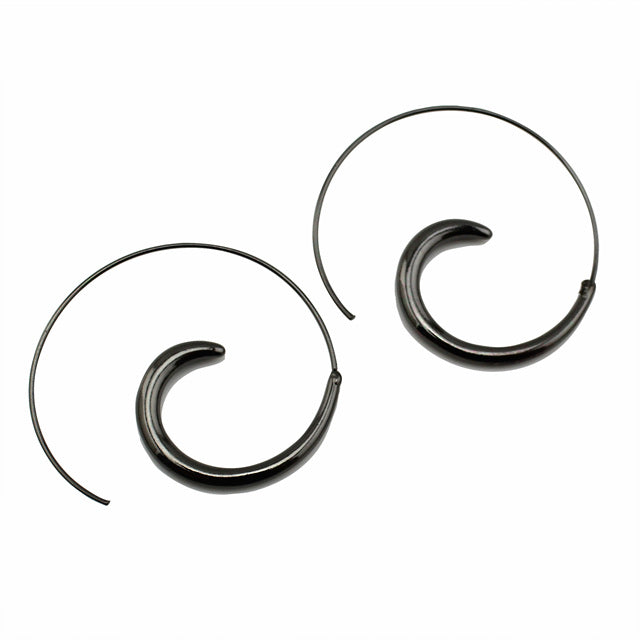 Charcoal Black Hoop Earring