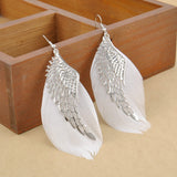White/Silver Angel Wing Feather Earring