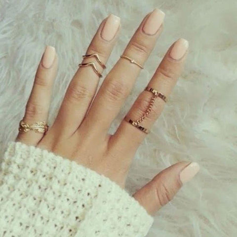 6 Piece - Charm / Leaf / Midi Stack Rings