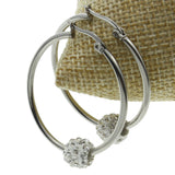 Stainless Steel Hoop Earrings |  Rhinestone Ball Beads