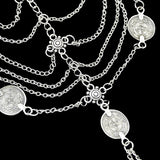 Silver Multi Layer Chain Coin Chic Slave Anklets