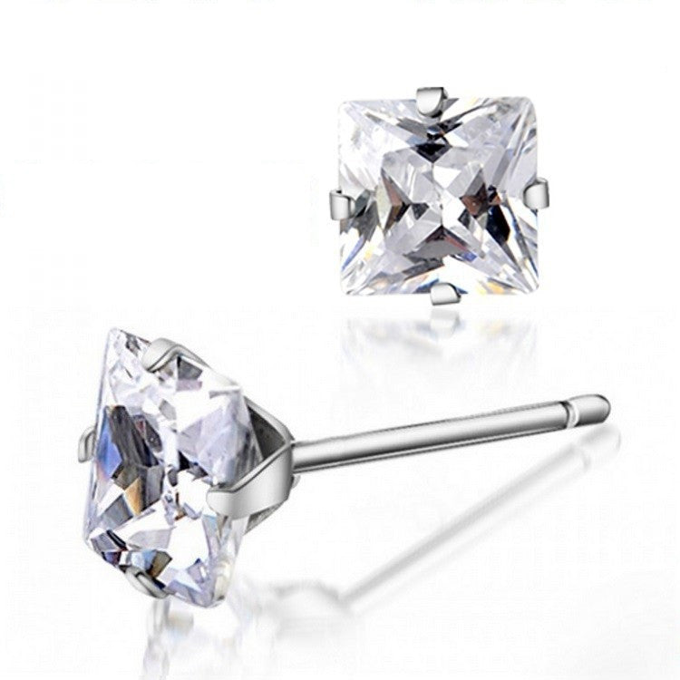 Square Cubic Zirconia Stud Earring