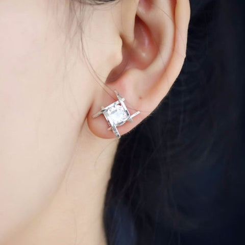 Crystal Stud Earrings (Silver/Gold)