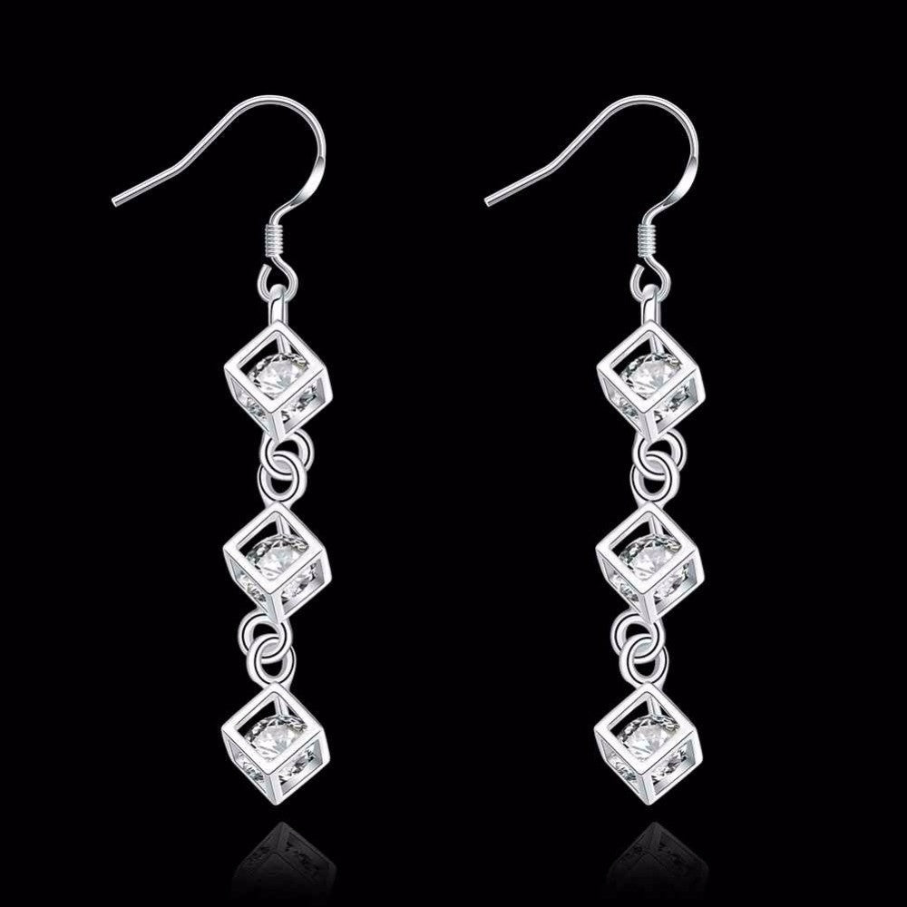 Square Cubic Zirconia Crystal Drop Earrings