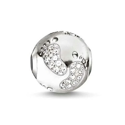 Baby Footprint Bead (Silver)
