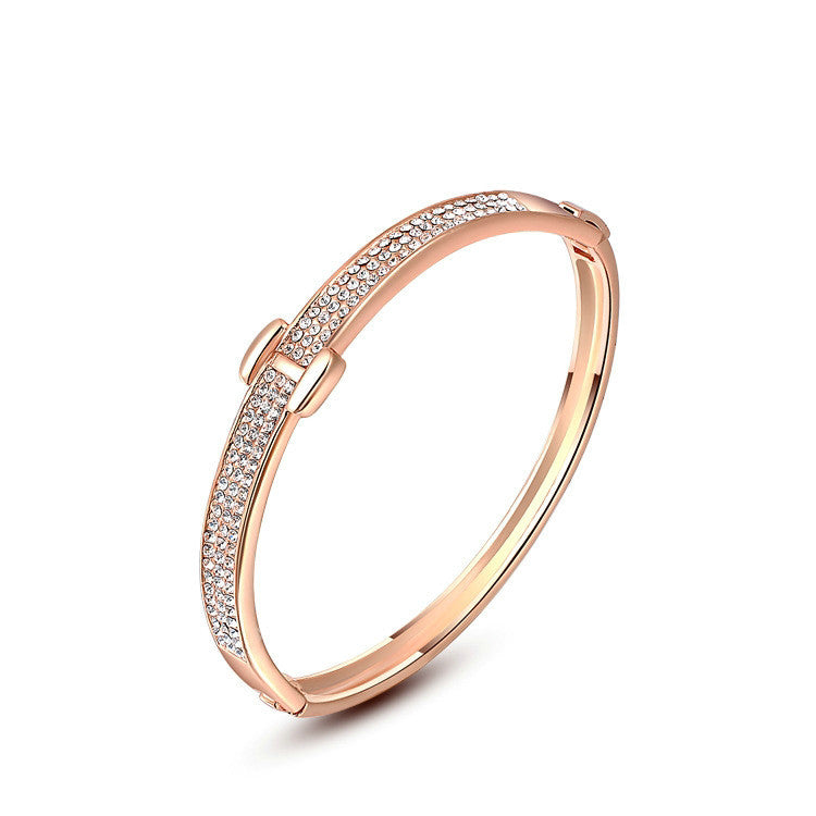 Buckle Cubic Rose Gold Bracelet/Bangle