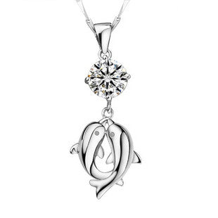Dolphin - Silver (Platinum Plated) Pendant Necklace