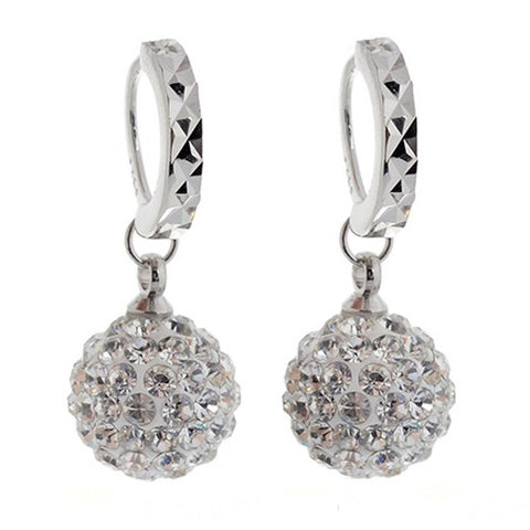 Crystal Charm Hoop Earrings (Silver)