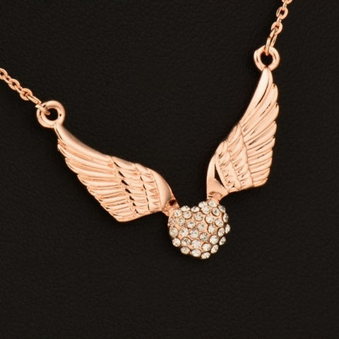 Zirconia Heart Angel Wing Pendant