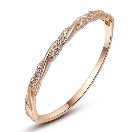 Twist Rose Gold Cuff Bangle