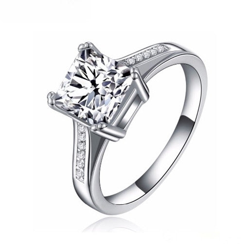 Square Cut Cubic Zirconia Platinum Plated Engagement Ring
