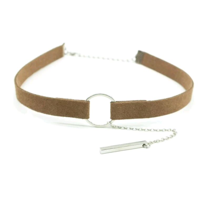 Sandy Brown Circle Choker (Silver/Gold)