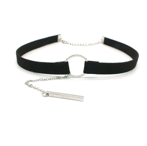 Soft Black Circle Choker (Silver/Gold)