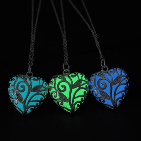 Glow In The Dark Heart Locket (Green, Blue, Light Blue)