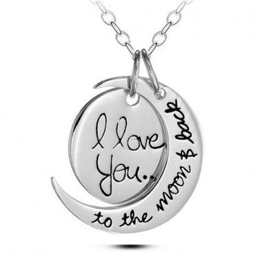 I Love You (Silver)  - Moon/Back Necklace