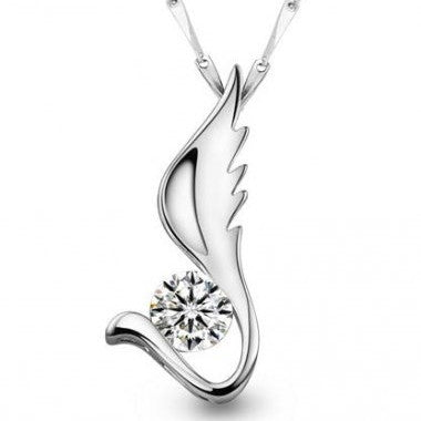 Angel's Wing - Silver (Platinum Plated) Pendant Necklace
