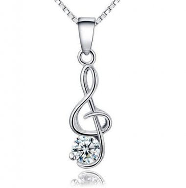 Musical - Silver  (Platinum Plated) Pendant Necklace