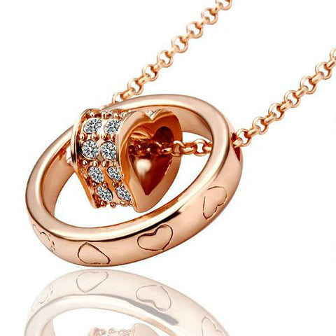Rose Gold Heart/Ring Pendant Necklace