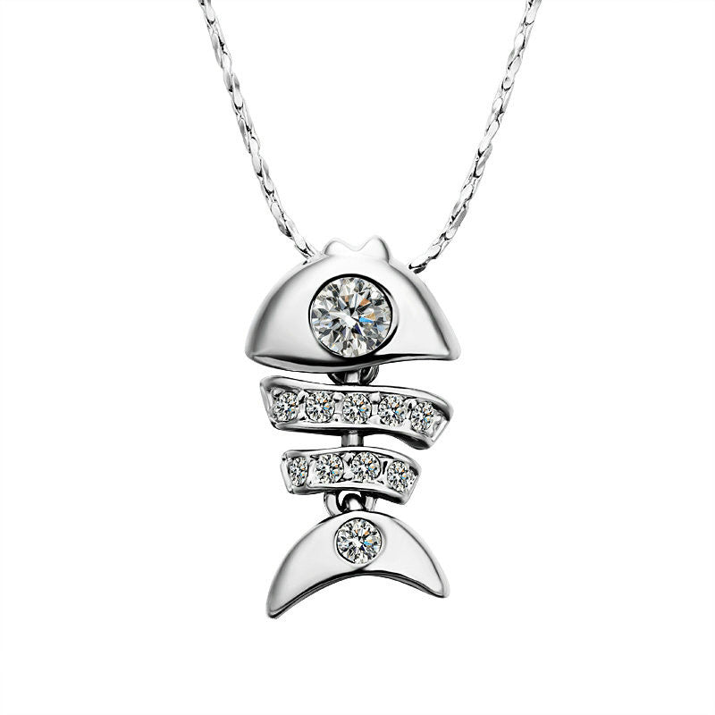 3D Fish Silver (Platinum Plated) Pendant Necklace (Movable)