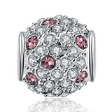 Silver/Pink Cubic Charm Bead