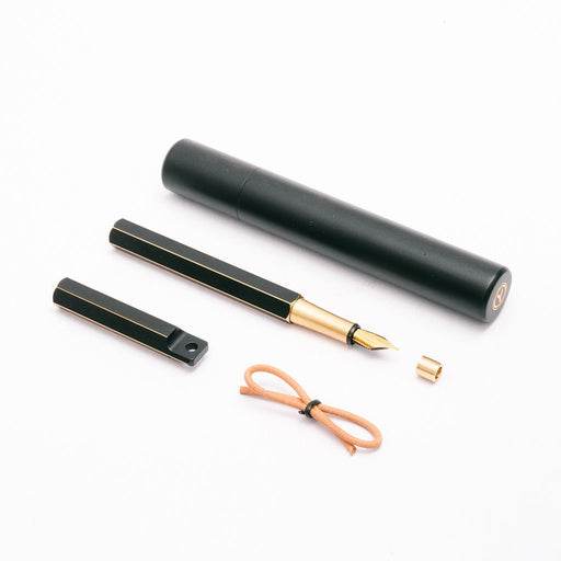 Portable Fountain Pen - 'Brassing' Black