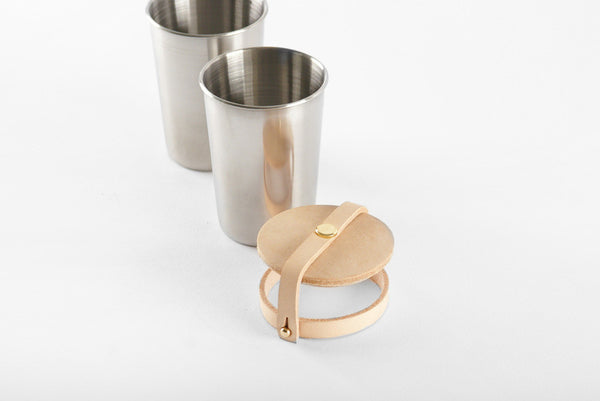 Cup Set - Leather and Steel - Langsom