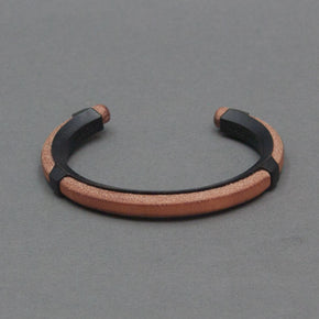 Leather Inlay Cuff - Black - Langsom