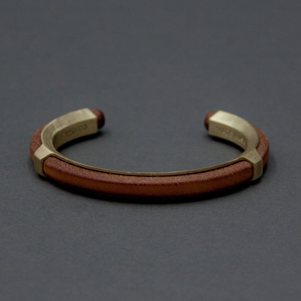 Leather Inlay Cuff - Brass - Langsom
