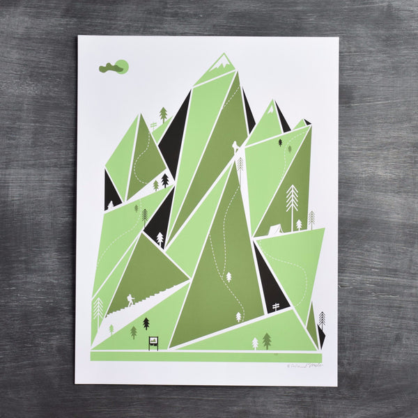 Mountain Hiking Print - Langsom
