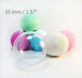 Round Bath Bomb Molds - Clear Plastic Reusable - 1.37 inch / 35mm, Small Mini Size