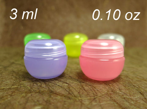 100pc Fun Colorful Cosmetic Lip Balm Sample Plastic Jars -3ml 0.10oz, semi-translucent