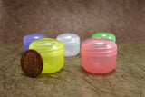 100pc Fun Colorful Cosmetic Lip Balm Sample Plastic Jars -5ml 0.17oz, semi-translucent