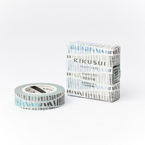"Washi Tape SAMPLE 40"" Blue and Black line stripe pattern Japanese Masking Tape (1m/1 yard) Buy 3 Get 1 FREE!"