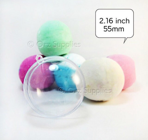 Round Bath Bomb Molds - Clear Plastic Reusable - 2.16 inch / 55mm, Medium Size