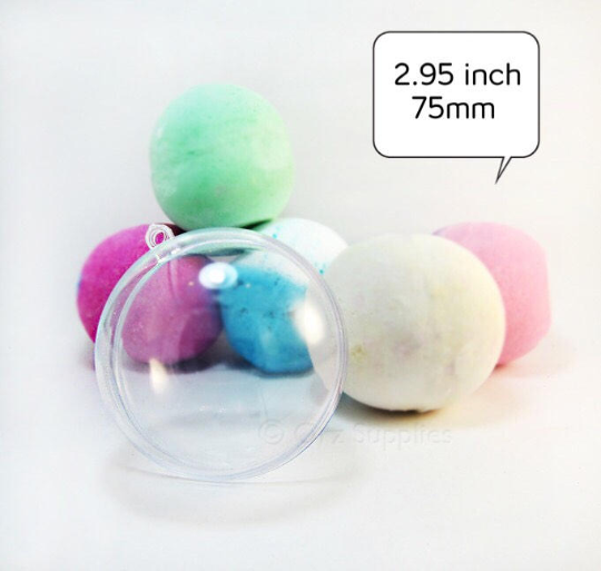 Round Bath Bomb Molds - Clear Plastic Reusable - 2.95 inch / 75mm, Mondo Large Size